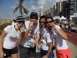 Os maratonistas: Lyncão, Breno e Claudinha.